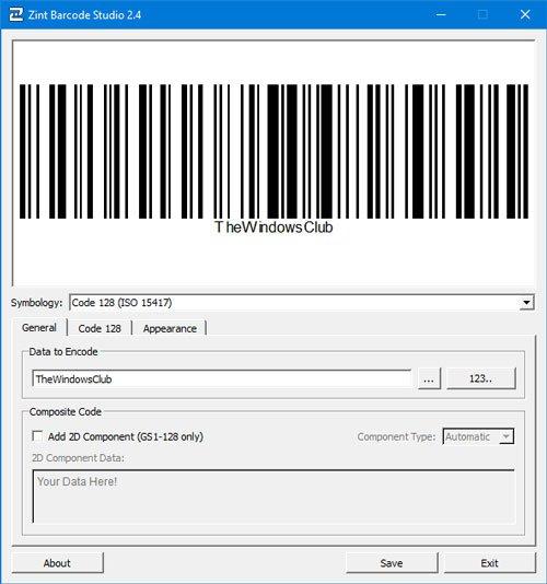 Zint Barcode Studio es un generador de códigos de barras y códigos QR gratuito para Windows 10