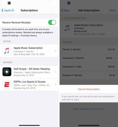 cancelar suscripción en iphone