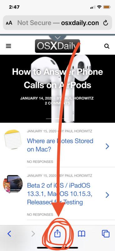 Hos para agregar un sitio web a la pantalla de inicio de iPhone o iPad