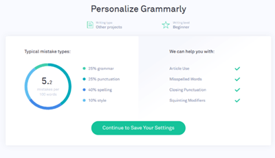 personalizar gramaticalmente