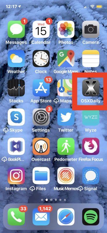 Sitio web agregado a la pantalla de inicio del ejemplo de iPhone
