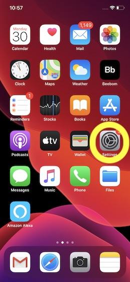 Öppna inställningsappen på din iPhone och iPad