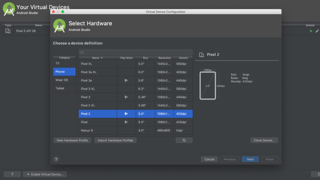 Android Studio: virtual cihazların yaradılması