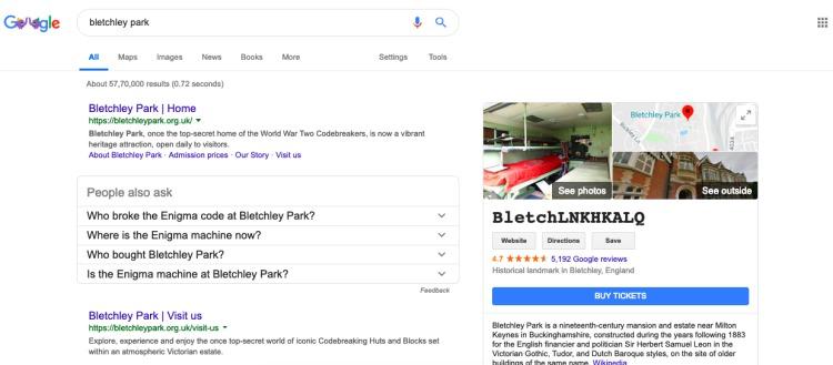 bletchley park google axtarışı