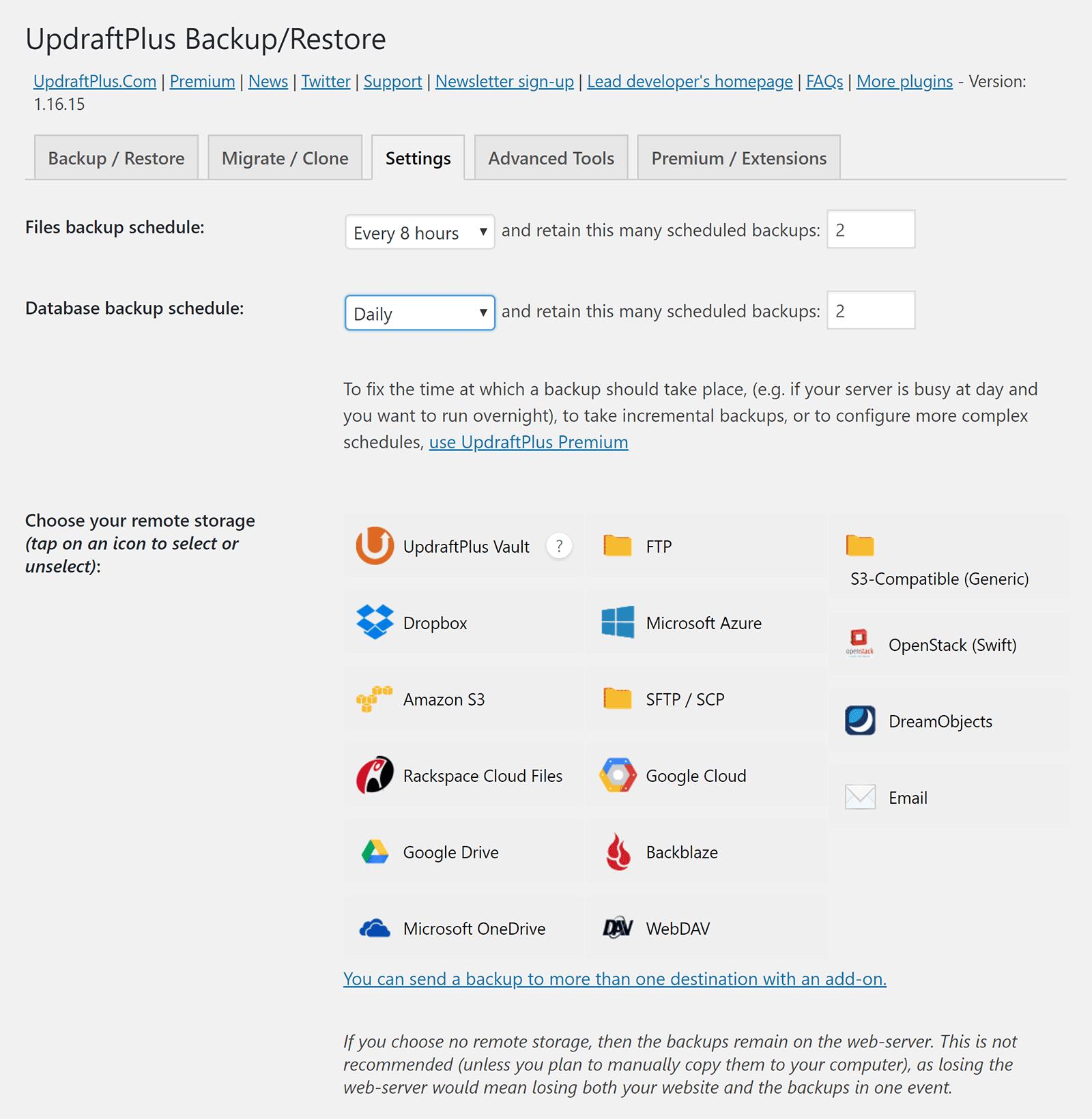 Programa de copia de seguridad de UpdraftPlus