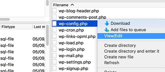 Edite el archivo wp-config.php a través de FTP