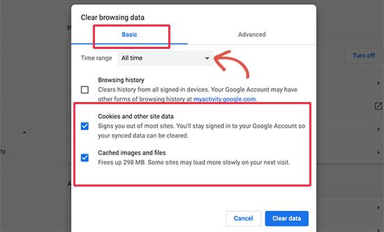 Borrar cookies y caché en Google Chrome