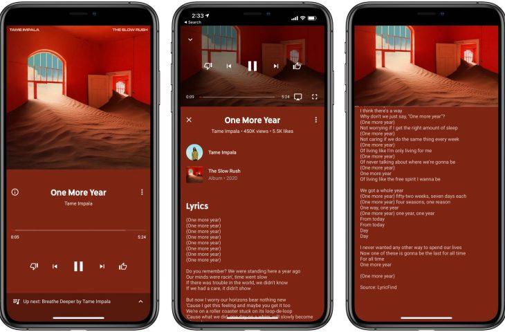 YouTube Music for iOS lanza letras