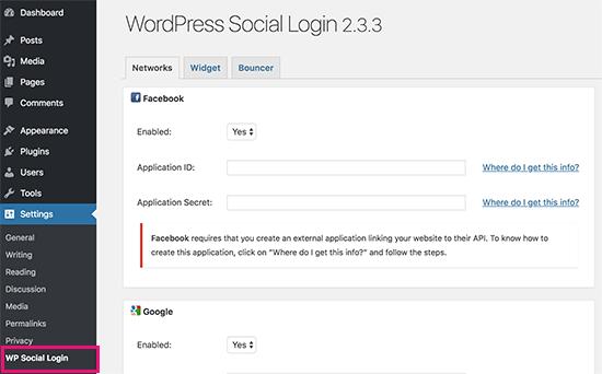 Configuración de inicio de sesión social de WP