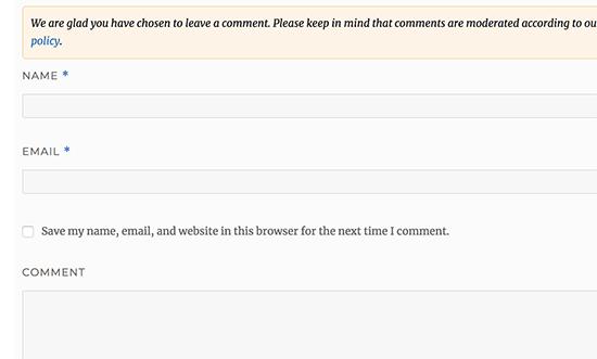 Eliminar el campo URL del formulario de comentarios