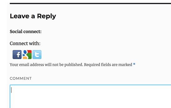 Agregue botones de inicio de sesión social al formulario de comentarios