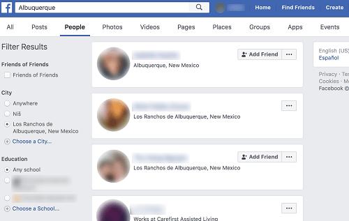 Encuentra amigos en una ciudad específica en Facebook
