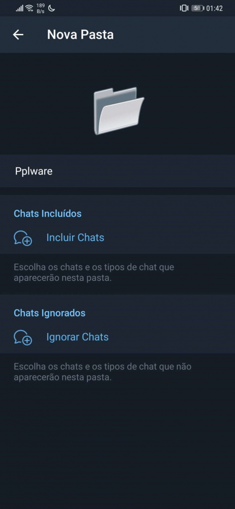 Carpetas de Telegram canal de llamadas de noticias