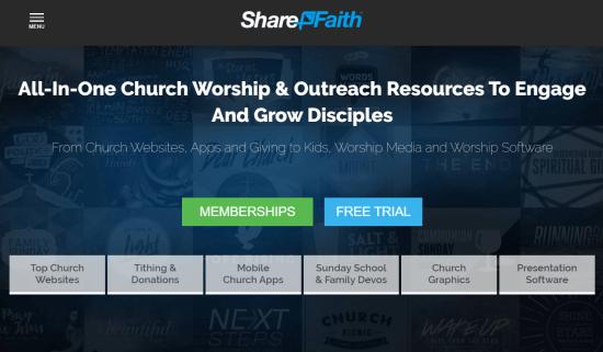 Creador de sitios web de la Iglesia Sharefaith