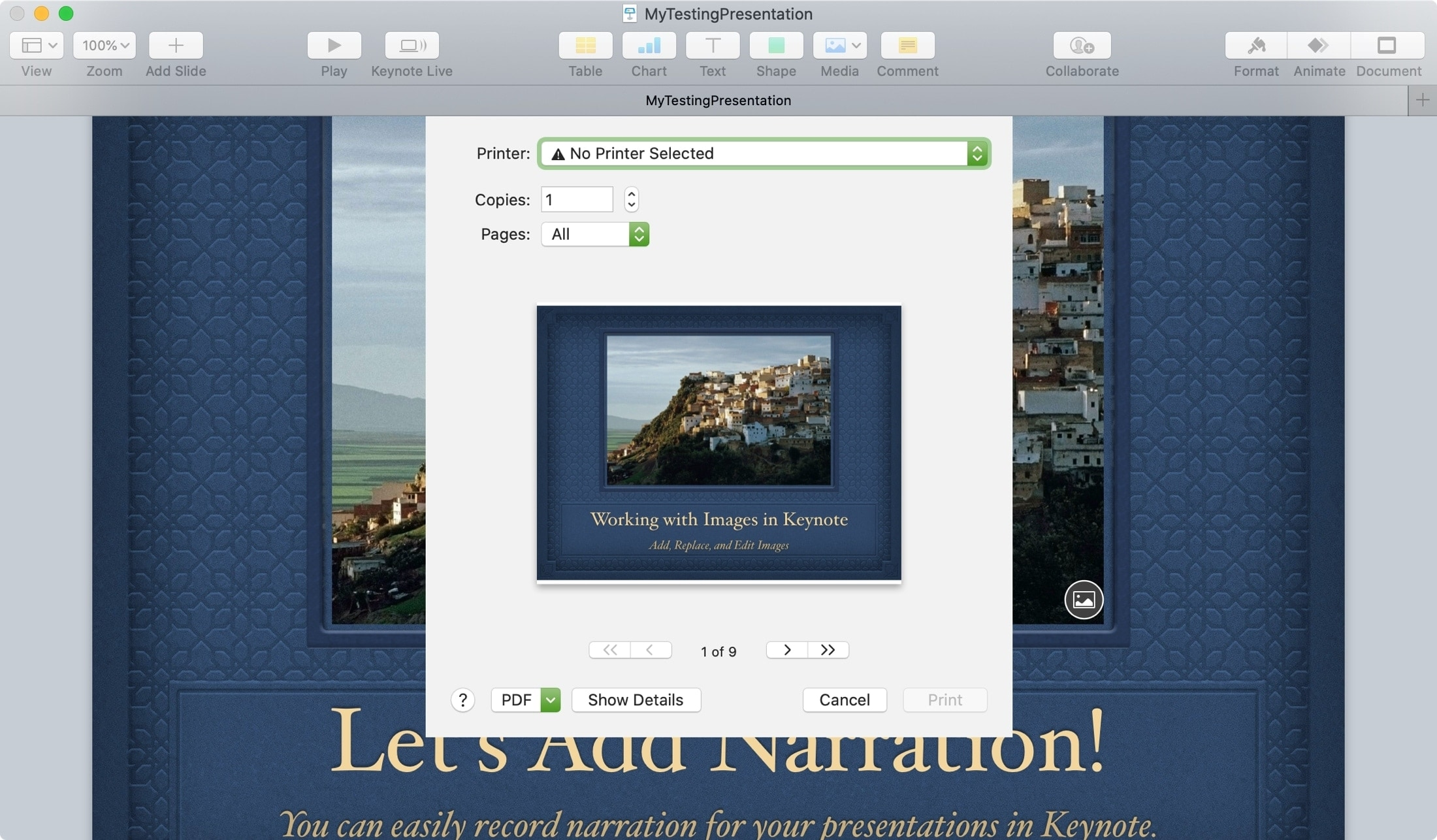 Presentación Keynote Print Mac