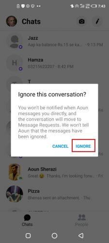 Nachrichten ignorieren aufheben facebook messenger Messenger nachrichten