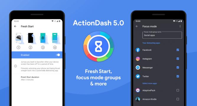 Pembaruan ActionDash v5.0 memperkenalkan fitur Mulai Baru dan opsi Mode Fokus tambahan