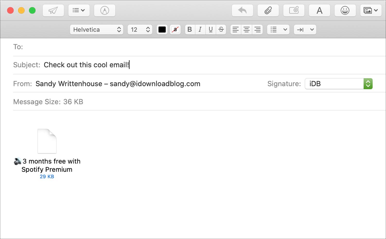 Cara menambahkan email sebagai lampiran di Mail 1