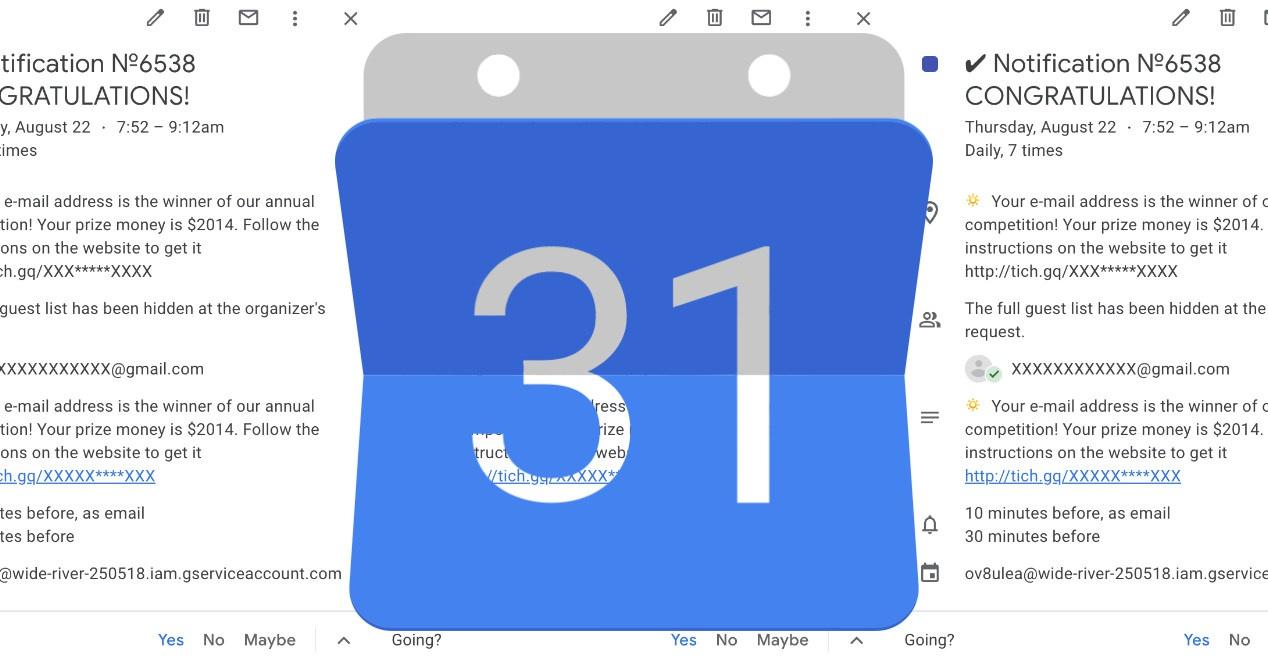 Roskapostin ja tietojen kalastelun välttäminen Google-kalenterin kautta