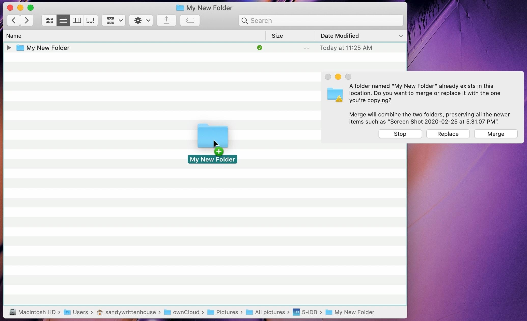 Combinar carpetas en Mac