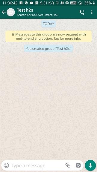 WhatsApp Gorup berhasil dibuat di Android