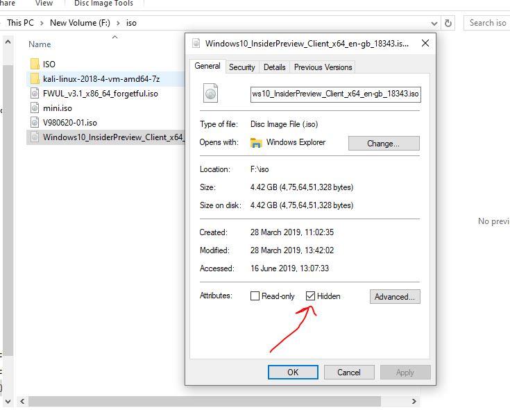 Sembunyikan file atau folder apa pun