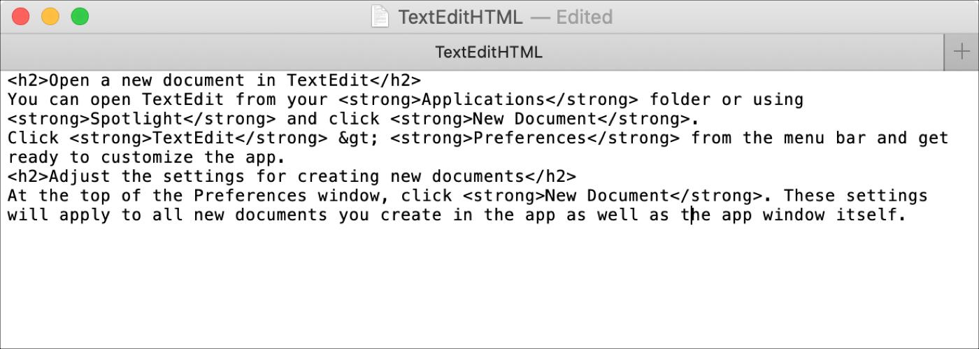 Archivo HTML TextEdit