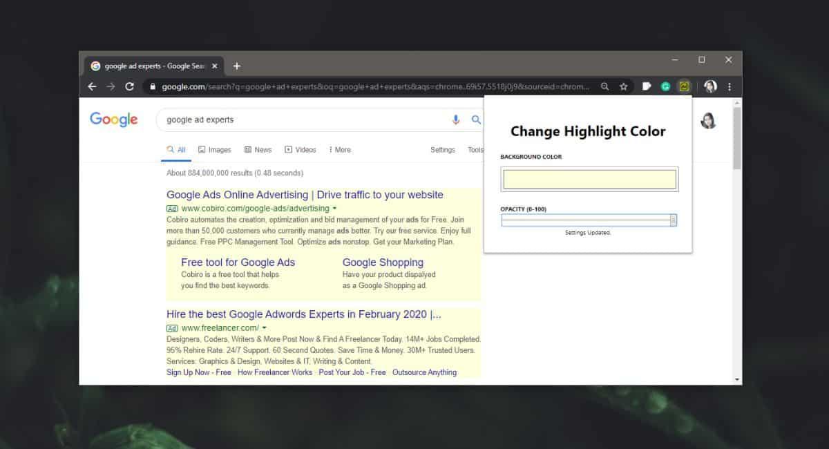 Cara menyorot iklan di halaman hasil pencarian Google di Chrome 1