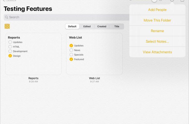 Cara menggunakan Tampilan Galeri, Daftar Periksa dan Folder Bersama dalam Catatan pada iPadOS 1