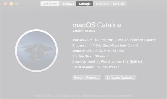 Haga clic en Almacenamiento en Mac