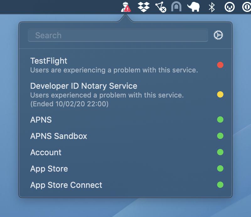 Cepat periksa status AppleLayanan pengembang dan konsumen dengan StatusBuddy 1