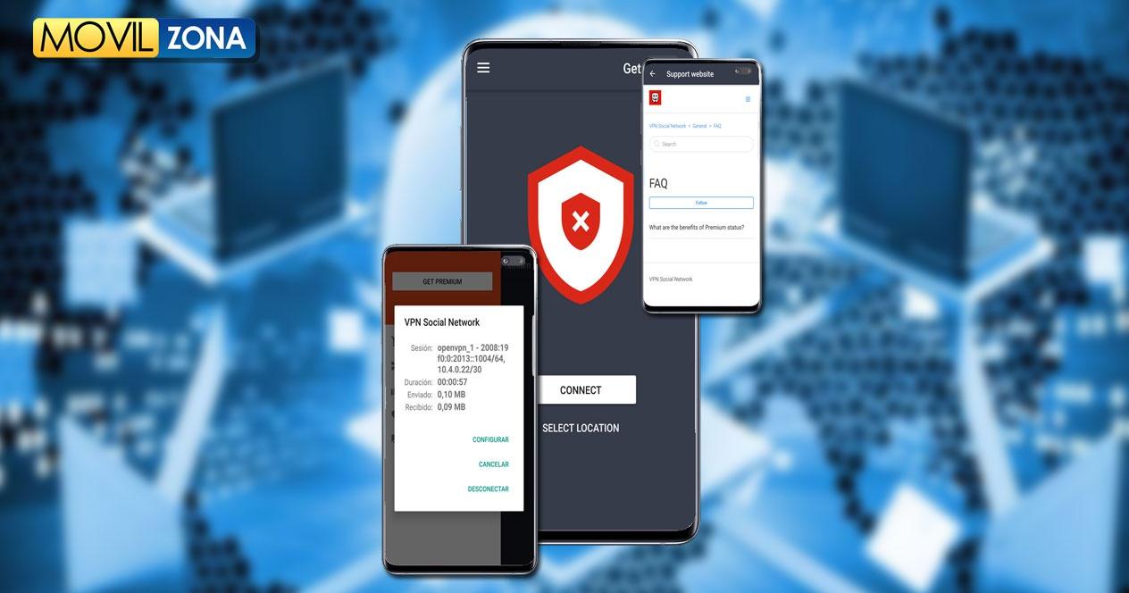 Imagen aplicación Social Network VPN