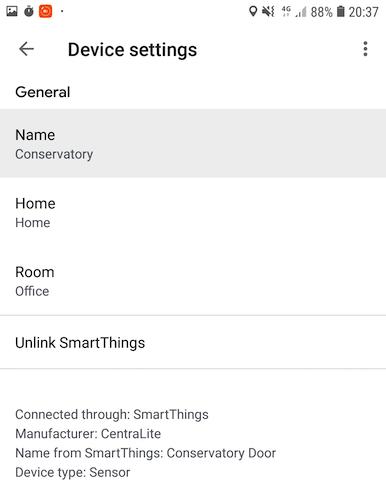 Puede cambiar el nombre de todos los dispositivos o sensores SmartThings en la aplicación Google Home.