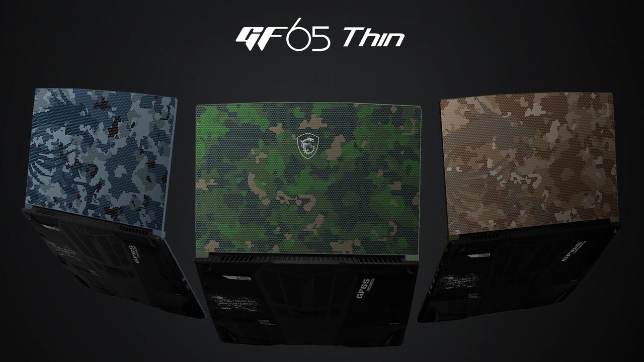 Camouflage-Concept-Notebook: Designstudie des MSI GF65 Thin auf der CES ausgestellt