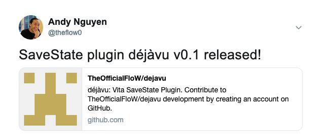 Edición PSVita: TheFlow lanza DejaVu y te ofrece una función inteligente que te permite guardar en cualquier lugar. - El complemento se encuentra actualmente en condiciones experimentales con algunas advertencias.