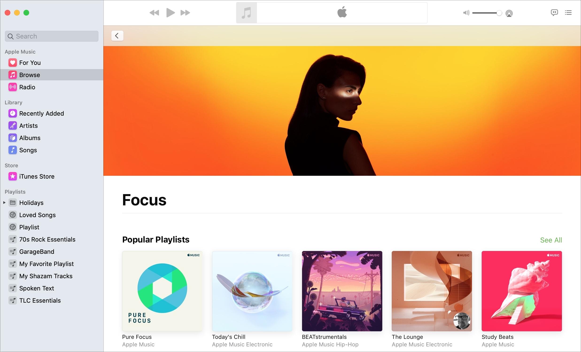 Apple    Listas de reproducción de Music Focus Mac
