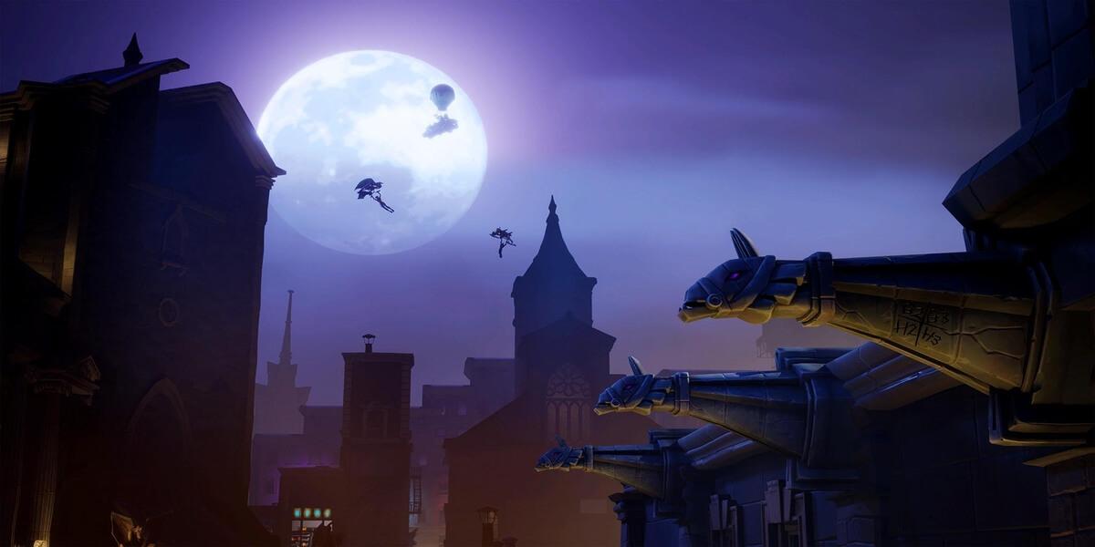 Tampilan Dalam Gim di Gotham City Tilted Towers di Fortnite 1