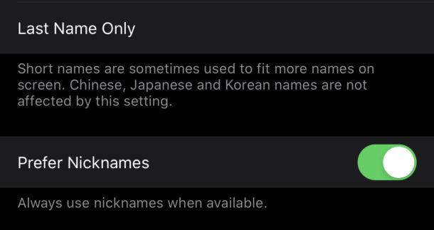 Seleccionar siempre usar apodos