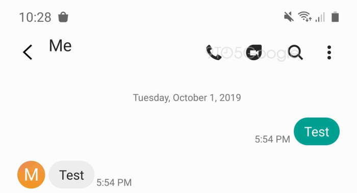 Samsung Messages Google Duo button