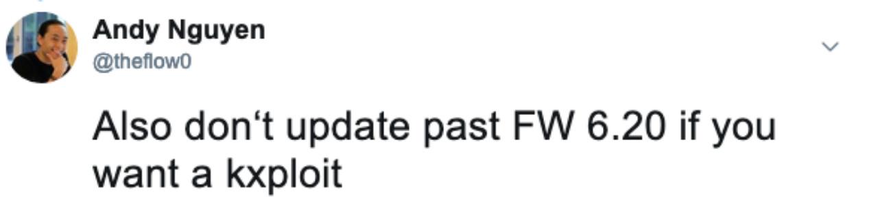 PlayStation 4 Noticias: TheFlow recomienda quedarse en FW 6.20 o inferior si quieres hackear tu consola - ¡kxploit actualmente en funcionamiento!
