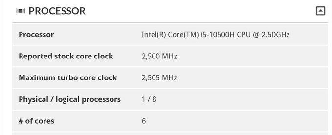 Intel Core i5 10500H 0
