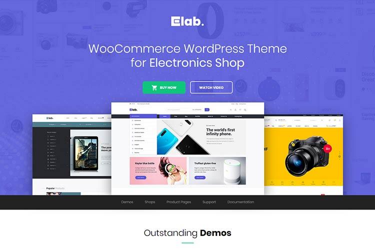 Venta hermosa de productos electrónicos con el tema patrocinado eLab WordPress