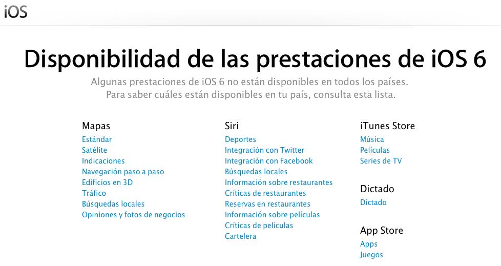 Periksa ketersediaan fitur iOS 6 di negara Anda 1