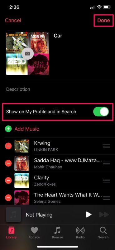 Cómo compartir listas de reproducción en Apple Música en iPhone y iPad