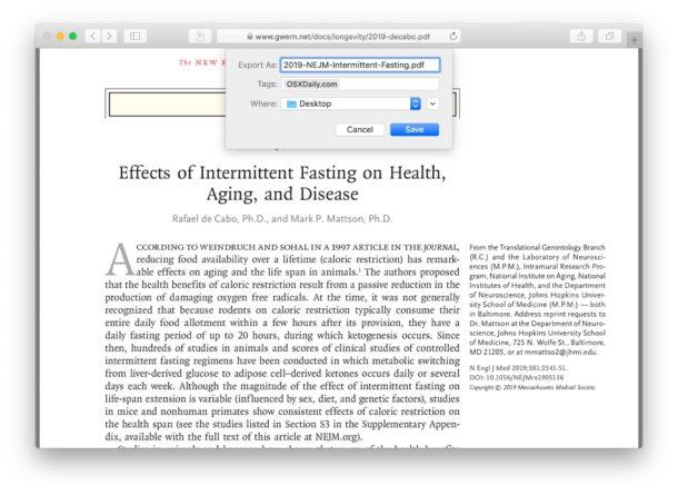 Guardar y descargar un archivo PDF de Safari a Mac