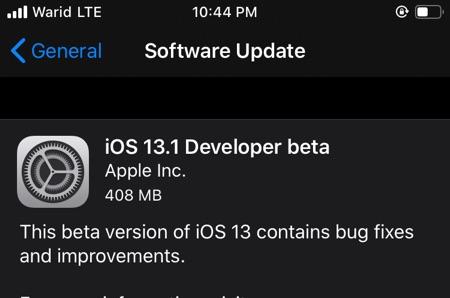 iOS 13.1 Developer Beta 1 Dirilis