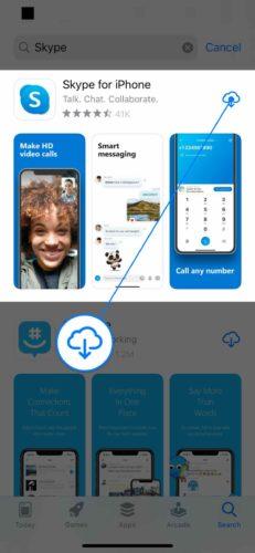 reinstalar skype en iphone
