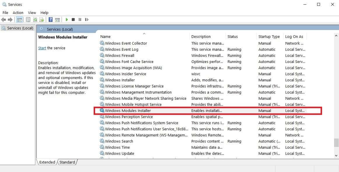 Windows  Instalador de módulos