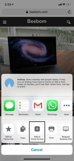 Agregar páginas web a la pantalla de inicio