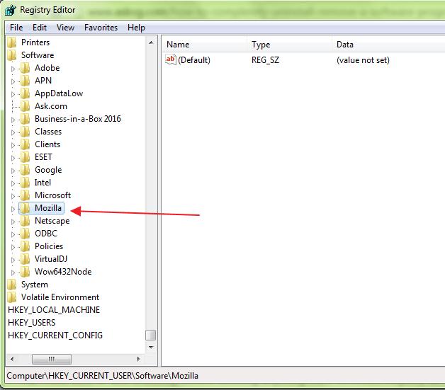 registry editor remove remnants of software